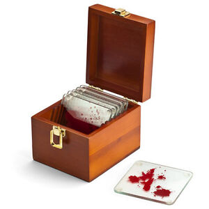 Dexter Morgan Blood Splatter Think Geek Acrylic Coaster Set Wooden Box Splat