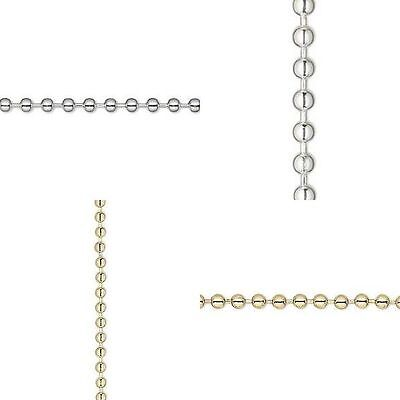 10 Feet Silver or Brass 2.4mm 3.2mm Bulk Ball Chain Bead Findings By The Foot