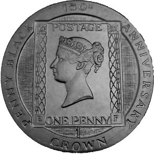ISLE OF MAN 1990 PENNY BLACK BLACKENED CROWN COIN