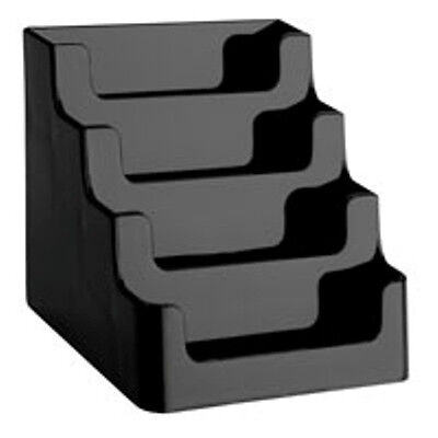 Black 4 Pocket Desktop Countertop Business Card Display Holder Wholesale Stands