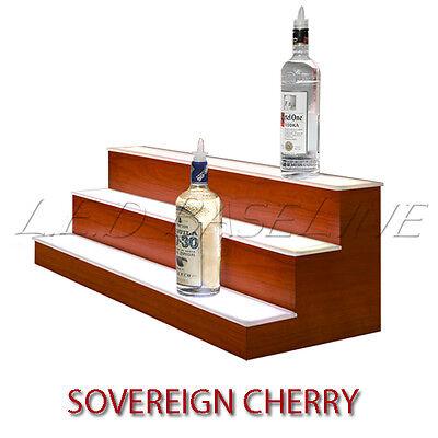80 3 Tier Led Lighted Liquor Display Shelf - Cherry Finish
