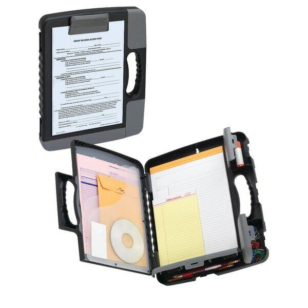 Office Depot Brand Form Holder Storage Clipboard Case, Charcoal