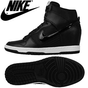 WOMENS NIKE DUNK SKY HIGH BLACK WEDGE SNEAKERS SHOES - SIZE 8
