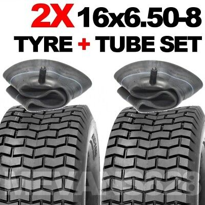 1 PAIR 16x6.50-8 TYRES & TUBE SET. RIDE ON LAWN MOWER GRASS TURF TYRES 16 650 8