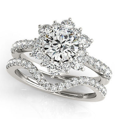 1.00 carat GIA Round Diamond G color SI2, 18k White Gold Cluster Ring with Band