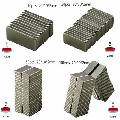 102050 Pcs 20x10x2mm N50 Bulk Super Strong Strip Block Bar Magnets Rare- Us