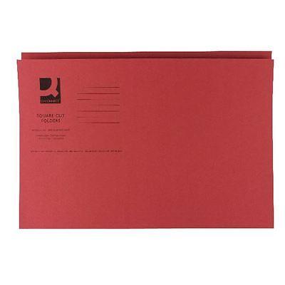 Q-Connect Red Square Cut Folder Medium Weight 250gsm Foolscap [KF01186]