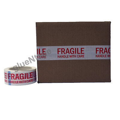 FRAGILE Carton Sealing Preprinted Packing Tape 2 inch x 330 ft (9 Rolls)