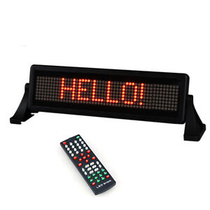 12V LED CAR SCROLLING MOVING MESSAGE DISPLAY LIGHT SIGN BOARD REMOTE CONTROL RED