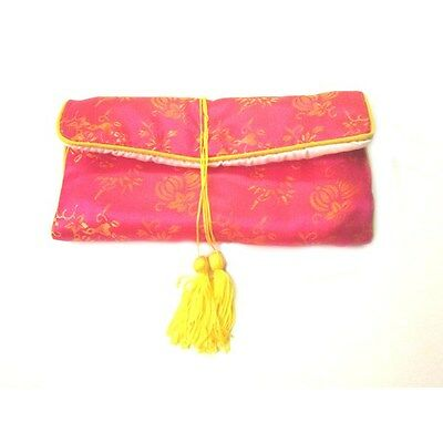 SILK JEWELRY TRAVEL BAG Roll Case Pouch Carrying Brocade Fabric Green Gold Lotus