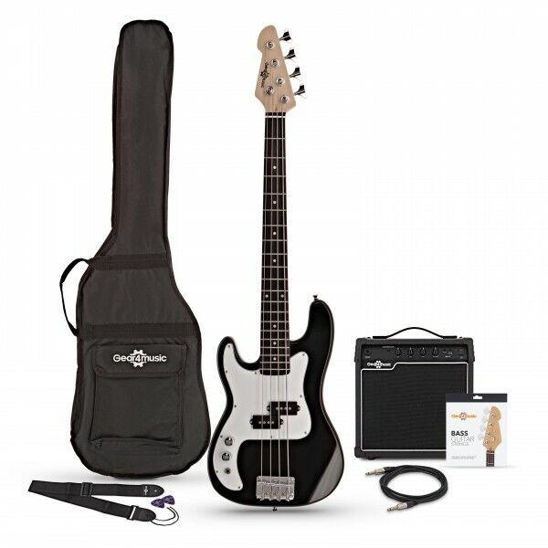 3/4 LA Left Handed Bass Guitar + 15W Amp Pack Black