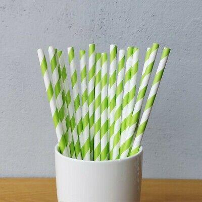 Green Striped Paper Straws (ECO-FRIENDLY 7.75
