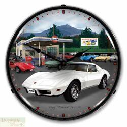 CORVETTE 1976 WHITE VETTE WALL CLOCK 14 LED Lighted Back Chevy USA Warranty New