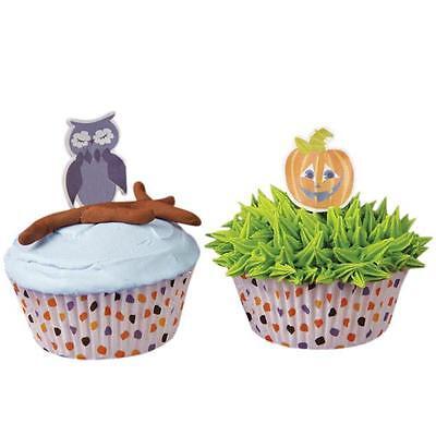 HALLOWEEN CupCake Baking LINERS Party Cups Cake Pics Decoration Pumpkin OWL x24](Halloween Cake Pics)