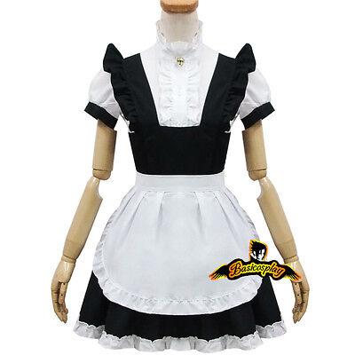 Damen Lolita Maid Schwarze Weiß One Size Cosplay Kostüme Schürze Kleid Kurzarm ()