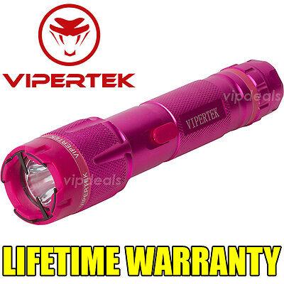 VIPERTEK VTS-T03 Metal 980 MV Stun Gun Rechargeable LED Light Taser Case Pink