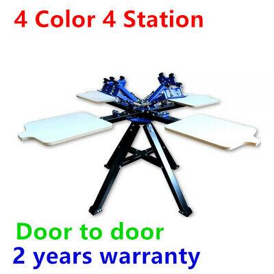 4 Color 4 Station Screen Double Wheel Printing Machine Press Silk Screen Printer