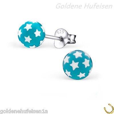 Sterne Blau Kugel Ohrstecker Echt 925 Silber Ohrringe Kinder Geschenkidee z-161
