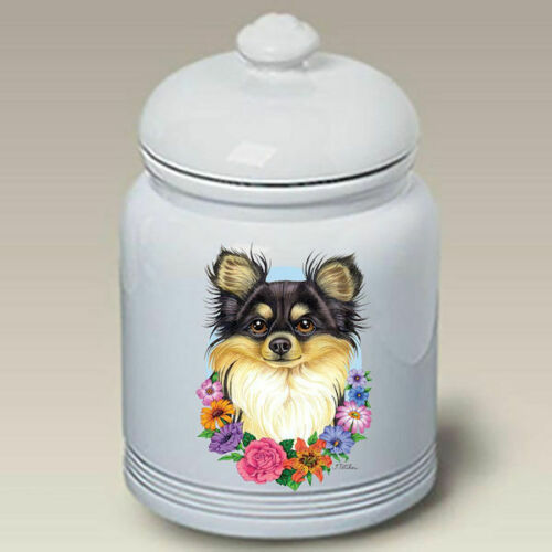 Chihuahua Longhair Black Tri Treat Jar
