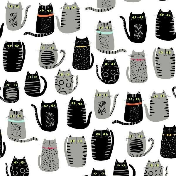 Cat Fish Cats Fat Cat Drawings Black and Gray on White Cotto
