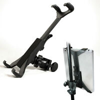Tablet Holder attaches to a microphone stand.