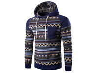 Tribal Printed Hooded Raglan Sleeve Spliced Hoodie Sweatshirt with Pocket - Size M - NEW