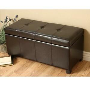 Brown Leather Storage Ottoman Coffee Table Bench Footstool New