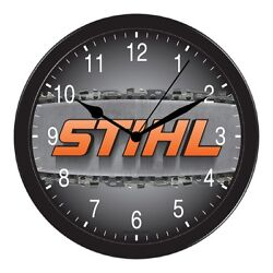 STHIL EQUIPMENT CHAINSAW 1926 EQUIPMENT LARGE BLACK WALL HANGING PICTURE CLOCK
