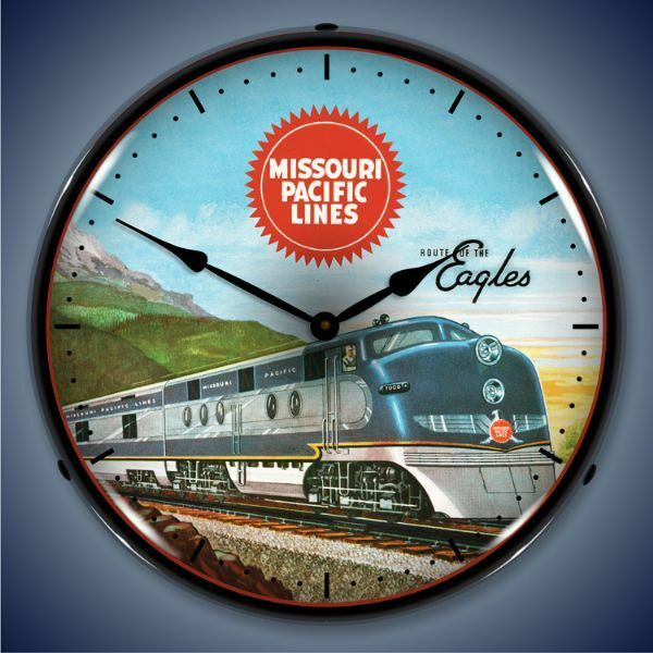 New old fashioned Missouri Pacific Lines Railroad LIGHT UP advertising clock 🚂