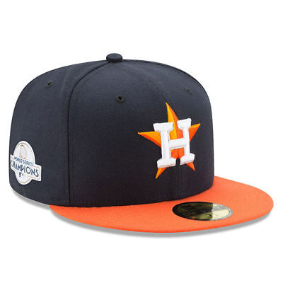 New Era Houston Astros Navy/Orange 2017 World Series Champions Patch Fitted Hat - Navy Orange Fitted Hats