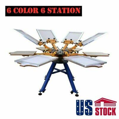 6 Color 6 Station Screen Printing Machine T-shirt Press Equipment Diy