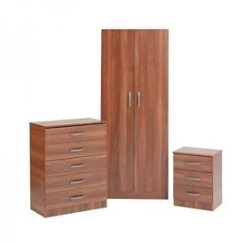 new walnut Wardrobe Bedroom Set, Chest of Drawers and Bedside Table