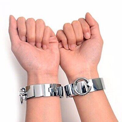 1 pair Stainless Metal Handcuffs Wrist Cuff Ankle Cuffs Unisex Restraint Bondage](Handcuffs Metal)