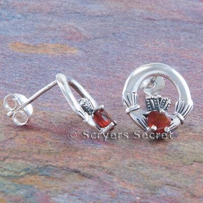 (925 Sterling Silver CELTIC CLADDAGH Earrings Garnet cz Irish Love Heart Hands)