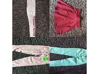 AA jeans, gym leggings, skirt