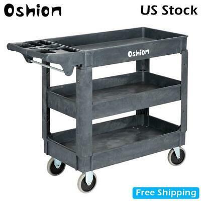 3 Tier Tool Cart Dolly Trolley Heavy Duty Service Rolling Plastic Storage Tub