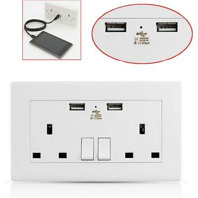 1, 2 OR 5 PACK USB DOUBLE WALL SOCKET 13 AMP UK PLUG 2 GANG SWITCH BRAND NEW