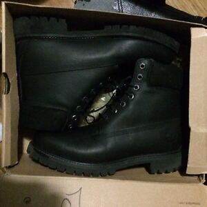 Timberland 6inch Premium Leather Black Boots Size 10.5