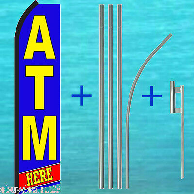 Atm Here Swooper Flag 15 Tall Pole Mount Kit Flutter Feather Banner Sign
