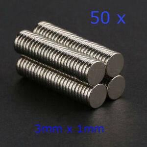50 x Rare Earth Strong Magnet 3mm x 1mm Disc Round Cylinder Neodymium fridge