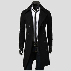 New Men's Stylish Double Breasted Overcoat Trench Coat Winter Long Jacket