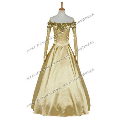 Once Upon A Time Season 3 Cosplay Belle Costume Golden Dress Halloween  - Belle Once Upon A Time Halloween Costumes