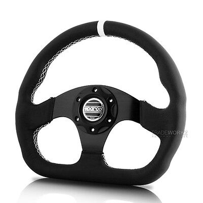 NEW Black JDM SPARCO Genuine Leather 320mm Racing Sport Steering Wheel with Horn