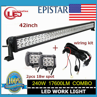 1X 42in 240W Led Combo Light Bar Driving Lamp Jeep + 2X 18W Spot With Wiring Kit