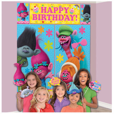 TROLLS Scene Setter Birthday Party Wall Decoration + 12 Photo Booth Props Poppy (Troll Background)