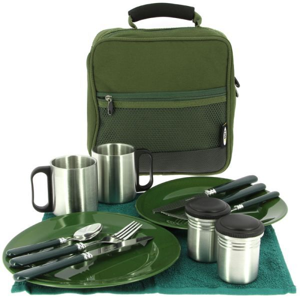 NGT Camping Fishing Picnic Plates Knives Forks Day Cutlery Set in Bag Fishing