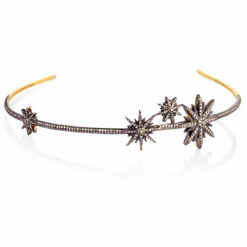 Victorian 8.90 Ctw Rose Cut Diamond 925 Sterling Silver Star Weeding Tiara