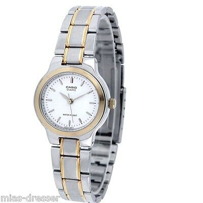 Casio LTP1131G-7A Ladies Two-Tone Stainless Steel Dress Watch White Dial NEW