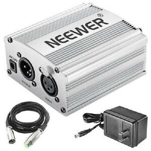 Neewer - 1-Channel 48V Phantom Power Supply Adapter+XLR Audio Cable for Any Condenser Microphone and Music Recording Equ