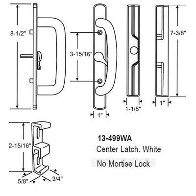 Sliding Glass Patio Door Handle Set, Mortise Type Center latch White ()